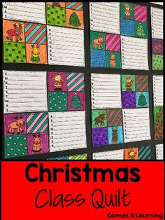 Christmas Writing Prompts Quilt from Games 4 Learning. 7 printable Christmas writing prompts to make a class Christmas quilt. $