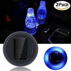 Netboat 2 pieces Universal Car Styling Solar Power Energy LED Car Interior Decoration Light Cup Coaster Mat Accessories for All CarsBlue