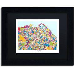 Trademark Fine Art Edinburgh Street Map Iii Canvas Art by Michael Tompsett Black Matte, Black Frame, Size: 11 x 14, Multicolor