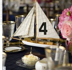 Nautical non-flower centerpieces and where to find/DIY? :  wedding table decor centerpieces Sailboat Table Number