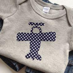 Size 0-3 months - Navy Blue Polka Dot Airplane applique on a Heather Gray Bodysuit - Baby Boy Clothes - Polka Dots. $13.00, via Etsy.