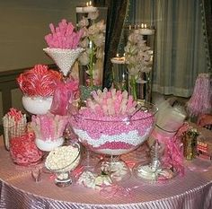 Anyone having a candy buffet at their reception? I'm having a Christmas candy buffet to go along with my Christmas themed wedding. Pink Candy Buffet, Candy Buffet Tables, Candy Table, Buffet Ideas, Dessert Tables, Wedding Favor Table, Candy Bar Wedding, Wedding Favors, Wedding Ideas