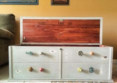 DIY Chalk Paint Refinished Distressed Brenda Marie Designs chest goodwill find awesome Hobby Lobby knobs