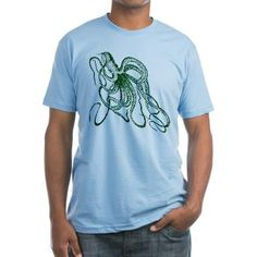 Dark green Vintage Wood cut Octopus T-Shirt