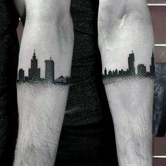30 Matching Tattoo Ideas For Couples City Skyline Armband Tattoos For Guys Retro Tattoos, Skull Tattoos, Forearm Tattoos, Black Tattoos, Sleeve Tattoos, Turtle Tattoos, Tribal Tattoos, Tattoo Band, City Tattoo