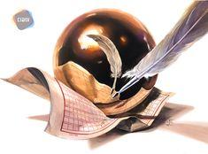Realistic Drawings, Watercolor, Digital, Metal, Painting, Inspiration, Pencil Drawings, Lights, Pen And Wash