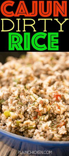 Seasoned Rice Recipes, Pork Sausage Recipes, Ground Beef Recipes, Chicken Recipes, Cajun Dirty Rice Recipe, Cajun Rice, Ground Beef Rice, Beef And Rice, Dirty Rice Recipe With Ground Beef