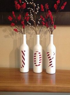 holiday decor. christmas decor. joy. Joy decorative Christmas bottles Beautiful by SEVENTHandJ on Etsy, $25.00 by regina