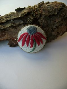 Embroidered pendant with red daisy by ZoZulkaart on Etsy