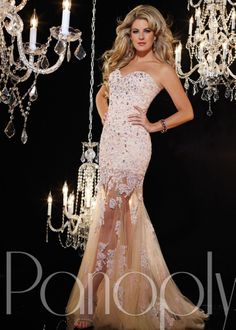 Panoply 14614 Strapless, Lace, Rhinestone, Sequin, Sweetheart Gown