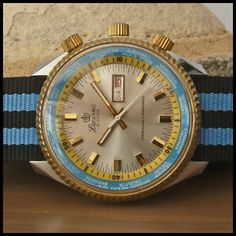 """1970's LUCERNE  Swiss  """"Electra"""" Vintage Aviator Diver's Watch HW HP Cal. 1641C"""