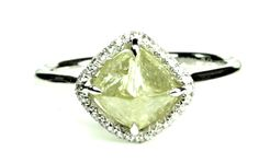 Grace with apple green rough diamond engagement ring -Classic and unique choice.