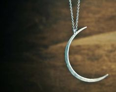 Seeing The Dark Side of the Moon Necklace- Large Hammered Crescent Moon Shape. $52.00, via Etsy.