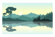Desktop Background Nature, Scenery Background, Landscape Background, Landscape Illustration, Digital Illustration, Digital Art Beginner, Green Landscape, Landscape Art, Beautiful Sunrise