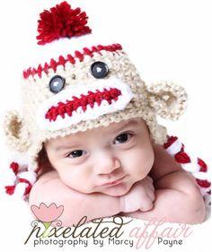 Crochet Baby Boy Sock Monkey Hat Photography