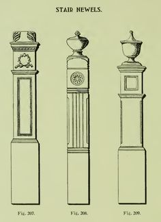 Victorian Stair newell posts from 1904 Rockwell Millwork catalog.