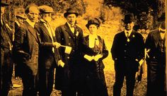 Rocky Mountain National Park Dedication Ceremony on September 4, 1915. From Left to Right: Enos Mills, F.O. Stanley, Edward Taylor, Mary Belle King Sherman, and Governor George Carlson.