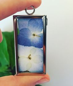 Blue Hydrangea Botanical Necklace Pressed by GlassHouseCollection