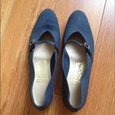 Salvatore Ferragamo Vintage Mary Janes Denim fabric mary janes by Salvatore Ferragamo. In amazing condition! They are size 7B. Vintage. Salvatore Ferragamo Shoes Flats & Loafers