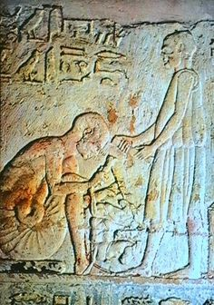 Tuneh el Gebel: Tomb of Petosiris: A sculptor in his workshop. Petosiris, called Ankhefenkhons, was the high priest of Thoth at Hermopolis and held various priestly degrees in the service of Sakhmet, Khnum, Amen-Re and Hathor. This tomb is constructed to look like a temple (it looks rather like Dendera). The outside is decorated in typical Late Period style, whilst the outer court is decorated in a Greek style. The tomb was constructed around the time of the conquest of Egypt by Alexander…
