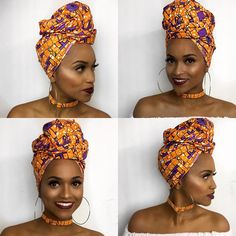Head wraps are very versatile because they serve multiple purposes and they're stylish and cute. Learn how to tie a head wrap and explore 35 head wrap styles. Scarf Hairstyles, African Hairstyles, Braided Hairstyles, Black Hairstyles, African Hair Wrap, African Head Wraps, Style Turban, African Fashion, African Beauty