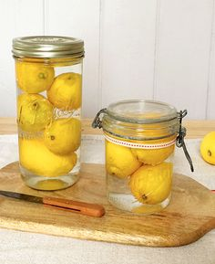 Keep lemons fresh and juicier for up to a month, simply by storing them in sealed glass jars and covering with water - this seals the lemon peel and stops them drying out.