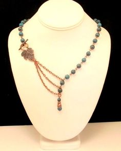 Necklace with Blue Sky Jasper and Leaf Toggle Focal in Antique Copper | byBrendaElaine - Jewelry on ArtFire