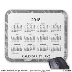 2018 Green Art Deco 52 Weeks Calendar by Janz Mouse Pad January February March April, April 1st, Custom Calendar, 52 Weeks, Presents For Her, Green Diamond, Calendar Design, Shopping Day, Green Lights