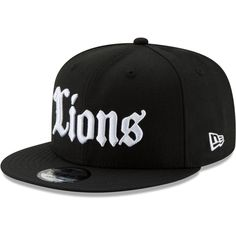 Men s Detroit Lions New Era Black Gothic Script 9FIFTY Adjustable Snapback  Hat 2191c711b520
