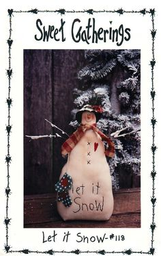 """Winter Sewing Pattern for """"Let it Snow"""" a 9"""" Snow Lady by Sweet Gatherings by CarlasHope on Etsy"""