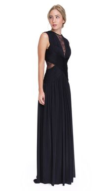 Your blue gown gets a makeover in this chic and elegant style. Perfectly placed cut-outs and lace will give you a black tie look for your next special event.