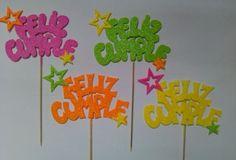Producciones Ladybug >> Adornos para Tortas, Carteles en Goma Eva ... Foam Crafts, Diy And Crafts, Ideas Para Fiestas, Cake Toppers, Balloons, Birthdays, Happy Birthday, Scrapbook, Creative