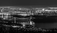 Night time Vancouver black and white Night Shot, The Province, British Columbia, Night Time, West Coast, Vancouver, Canada, Black And White, Country