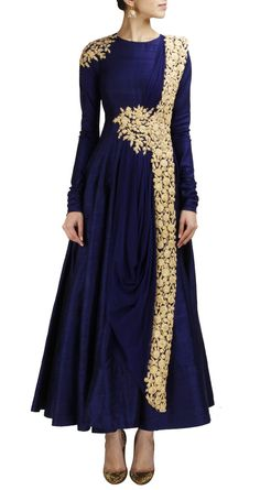 RIDHI MEHRA Navy blue anarkali with gold embroidery www.perniaspopupshop.com