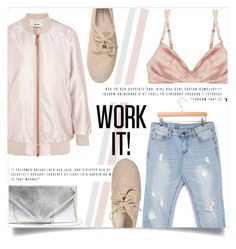 """""""work it!"""" by annisaamara ❤ liked on Polyvore featuring Rituel by Carine Gilson, stylebyyam, Acne Studios, GUESS, Pink, Silver and bomberjacket"""