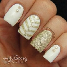 white black gold acrylic nail designs - Google Search