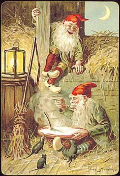 Jenny Nyström --- She was the to illustrate Nisse in this manner. Norwegian Christmas, Scandinavian Christmas, Vintage Christmas Cards, Christmas Art, Yule, Baumgarten, Elves And Fairies, Mythological Creatures, Magical Creatures