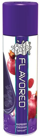 Wet Flavored Pomegranate Gel Lubricant 3.6 ounces. These lubricant are pure fun! With all of the benefits of our water-based formulas, Wet Flavored lubricant taste like real fruit with no bitter aftertaste. It is silky smooth, sugar-free, colorless, non-staining, and latex condom compatible and sex toy friendly. Pour it on for a tasty treat! Feels Delicious!<br /><br />Ingredients: Glycerin, Water (Aqua), Carboxymethylcellulose, Flavor (Aroma), Sucralose Pentylene Glycol, Potassium Sorbate…