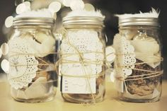 Mason jars and doilies with twine -- a cute way to give a gift of cookies or candy.