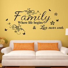 Wall Decals Quotes | Family where the life begins wall quotes decal stickers