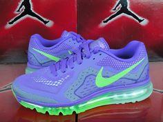 NIKE AIR MAX 2014 BLACK-PHOTO PURPLE GREEN-LIME SZ 11.5 WOMENS 621078-503 #Nike #RunningCrossTraining