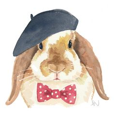 Bunny Rabbit Watercolour Original - Rabbit Painting, French Beret, Polka Dots, Bow tie, from WaterInMyPaint on Etsy. Art And Illustration, Watercolor Illustration, Watercolor Paintings, Watercolour, Animal Paintings, Animal Drawings, Art Drawings, Lapin Art, Rabbit Art