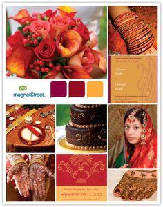 Indian Wedding Inspiration Board - Red & Gold color palette