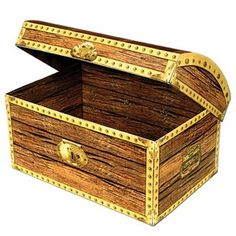 An ideal pirate treasure for a party. Classic Pirate Treasure Chest Prop is perfect for your next party! Pick from 2 sizes: (SMALL) Treasure Chest Box x x assembly required Decoration Pirate, Pirate Party Decorations, Paper Decorations, Party Themes, Themed Parties, Party Ideas, Pirate Birthday, Pirate Theme, Mermaid Birthday