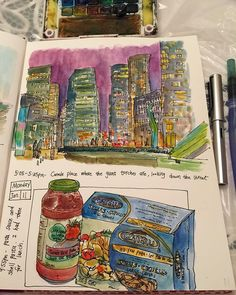 Quick journals done after work: spending 30 minutes doing a night sketch of the city; and what I used to cook my lunch.  #caobeckysketch