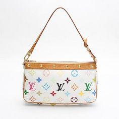 Louis Vuitton Pochette Accessoires Monogram Multicolor Handle bags White Canvas M92649