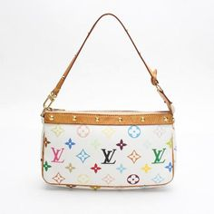 Louis Vuitton Pochette Accessoires Monogram Multicolor Handle bags White Canvas M92649