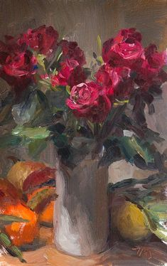 daily painting titled Vase of red roses - click for enlargement