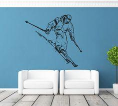 ik1126 Wall Decal Sticker skier skiing sport mountain livingroom bedroom