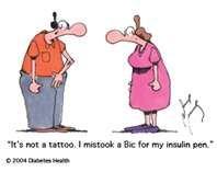 it's not a tattoo i mistook a bic for my insulin pen